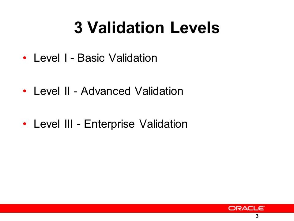 3 Validation Levels Level I - Basic Validation