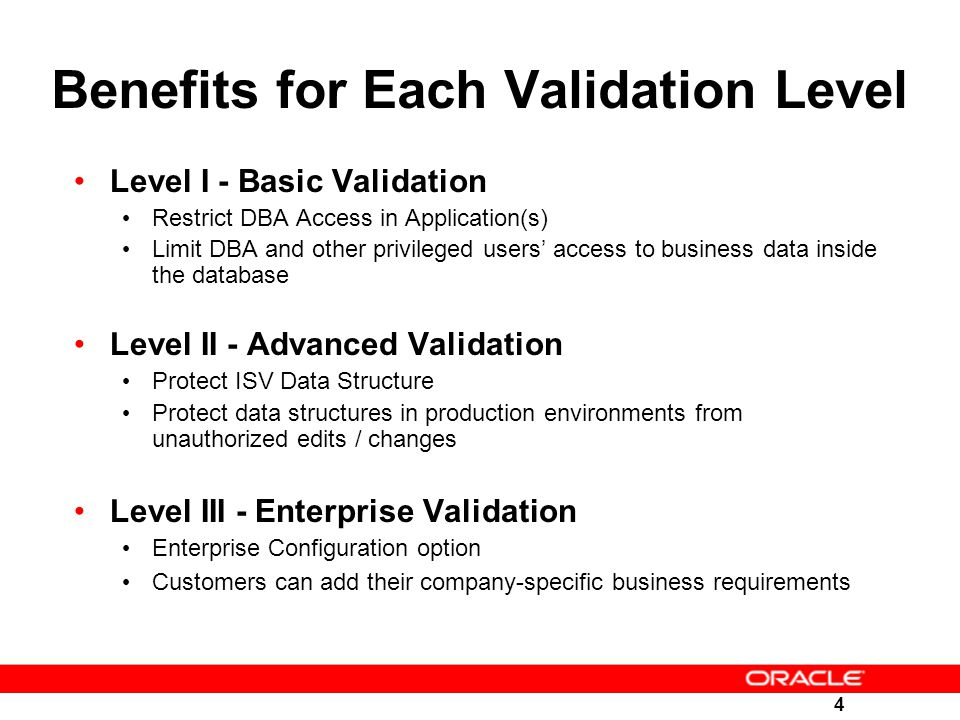 Benefits for Each Validation Level
