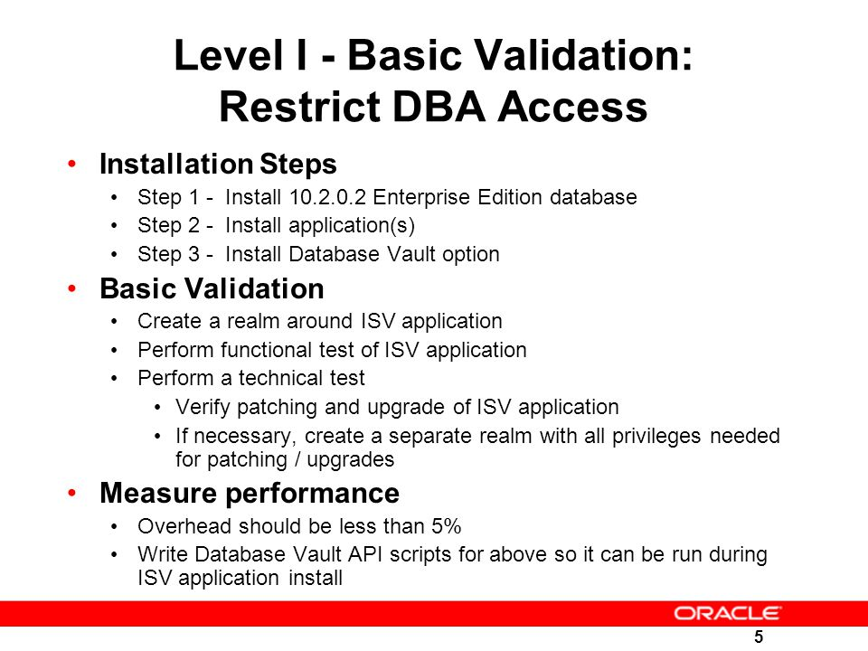 Level I - Basic Validation: Restrict DBA Access