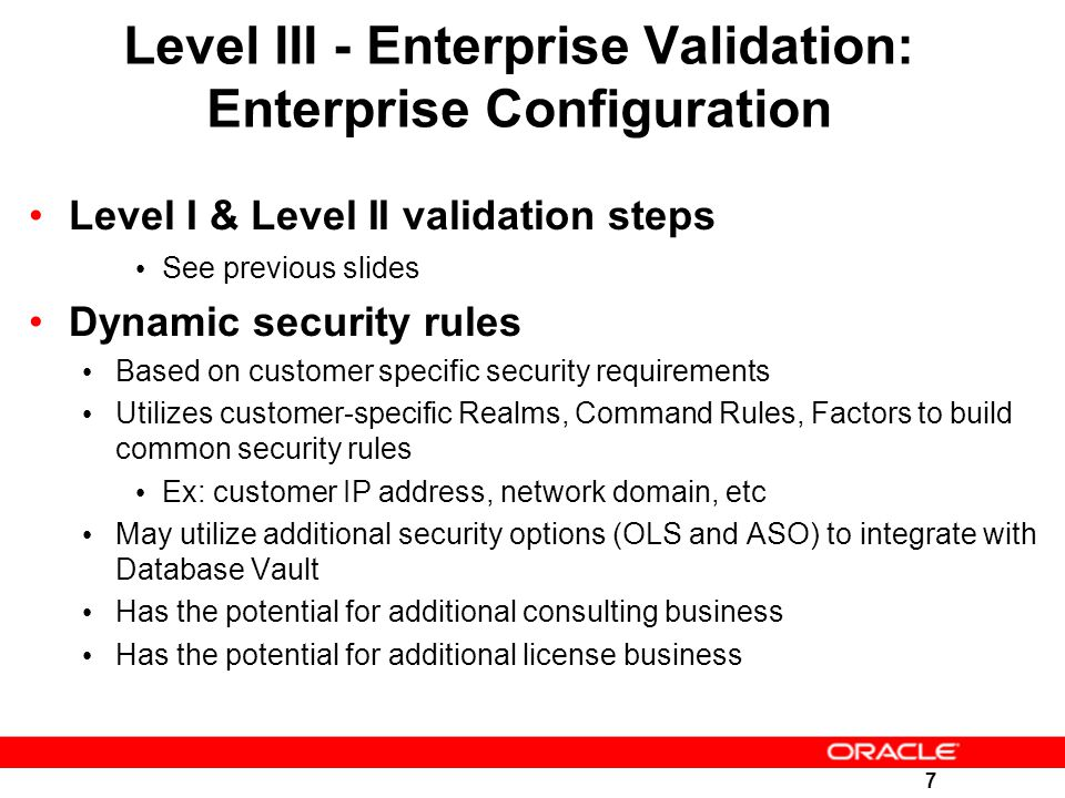 Level III - Enterprise Validation: Enterprise Configuration
