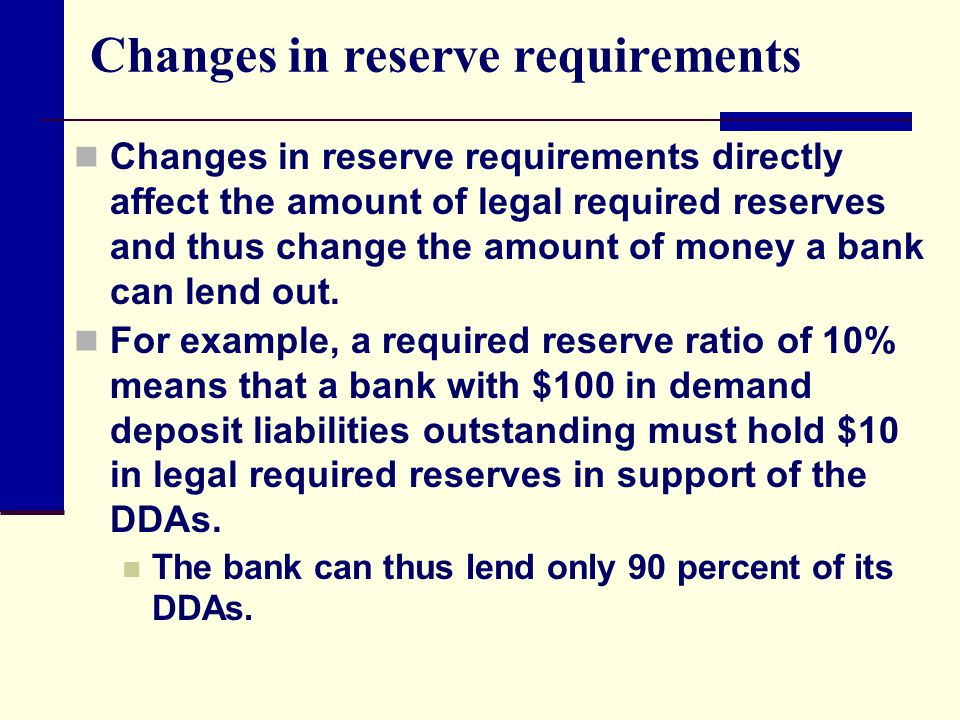 Changes in reserve requirements