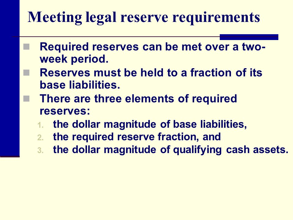 Meeting legal reserve requirements