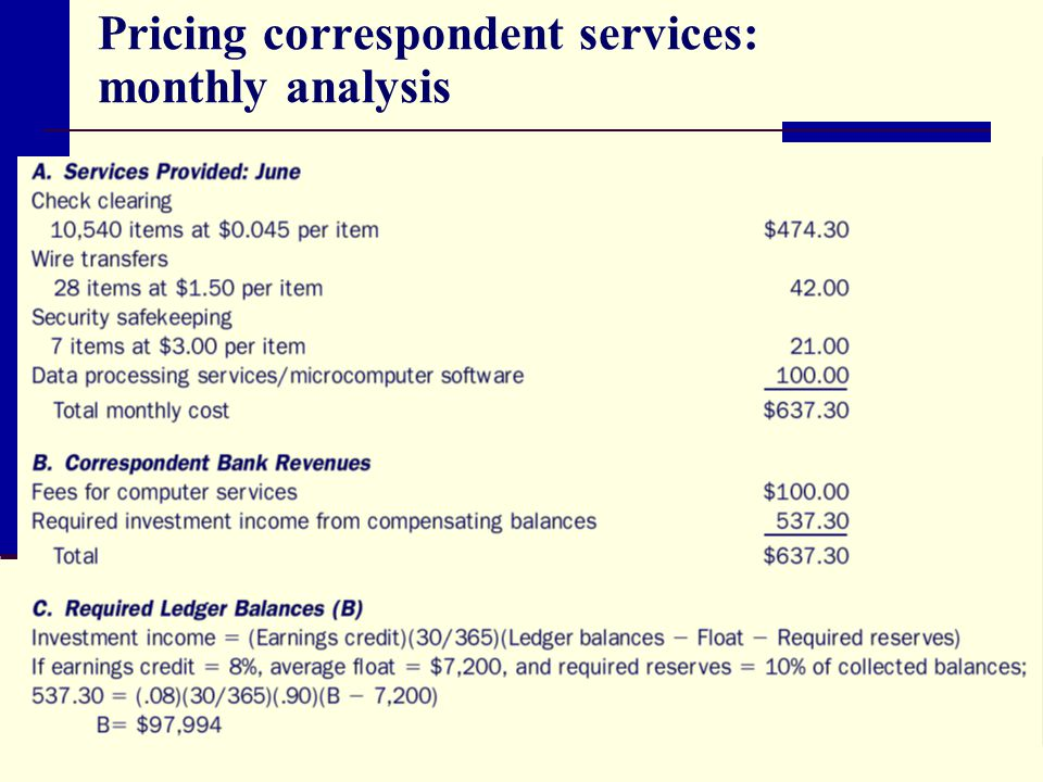 Pricing correspondent services: monthly analysis