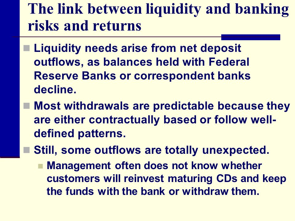 The link between liquidity and banking risks and returns