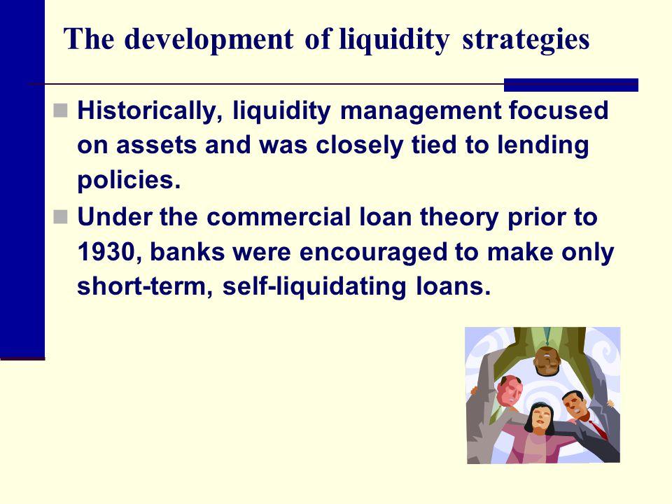 The development of liquidity strategies