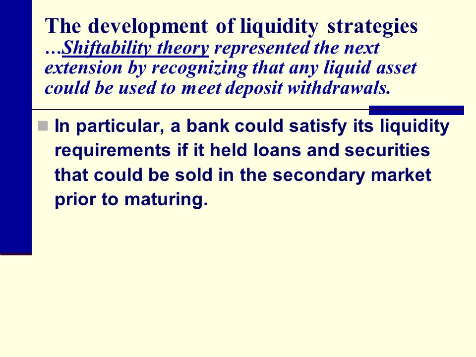 The development of liquidity strategies …Shiftability theory represented the next extension by recognizing that any liquid asset could be used to meet deposit withdrawals.