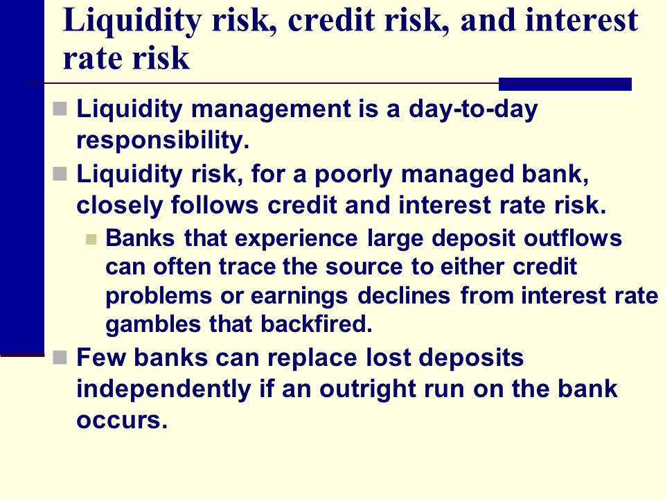 thesis on liquidity risk management in banks Impact of liquidity management on  in the following months the risk taking of banks in subprime loans started to unravel with the collapse and bailing out of the .