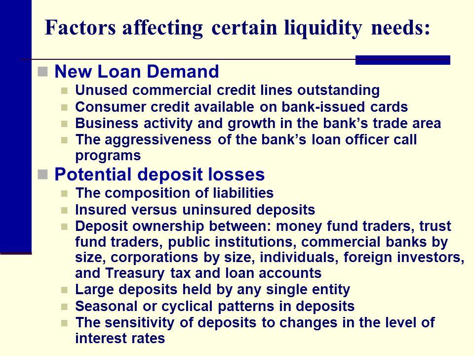 Factors affecting certain liquidity needs: