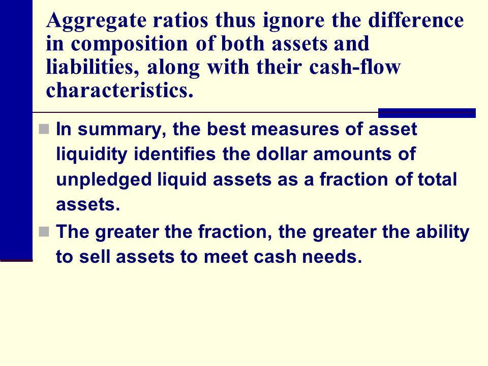 Aggregate ratios thus ignore the difference in composition of both assets and liabilities, along with their cash-flow characteristics.