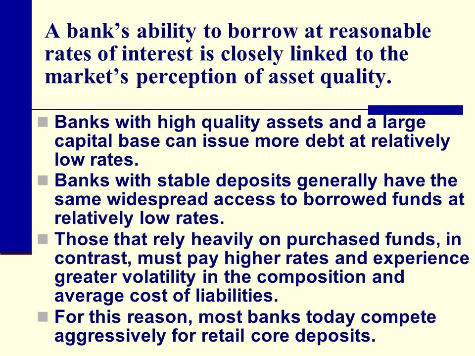 A bank's ability to borrow at reasonable rates of interest is closely linked to the market's perception of asset quality.