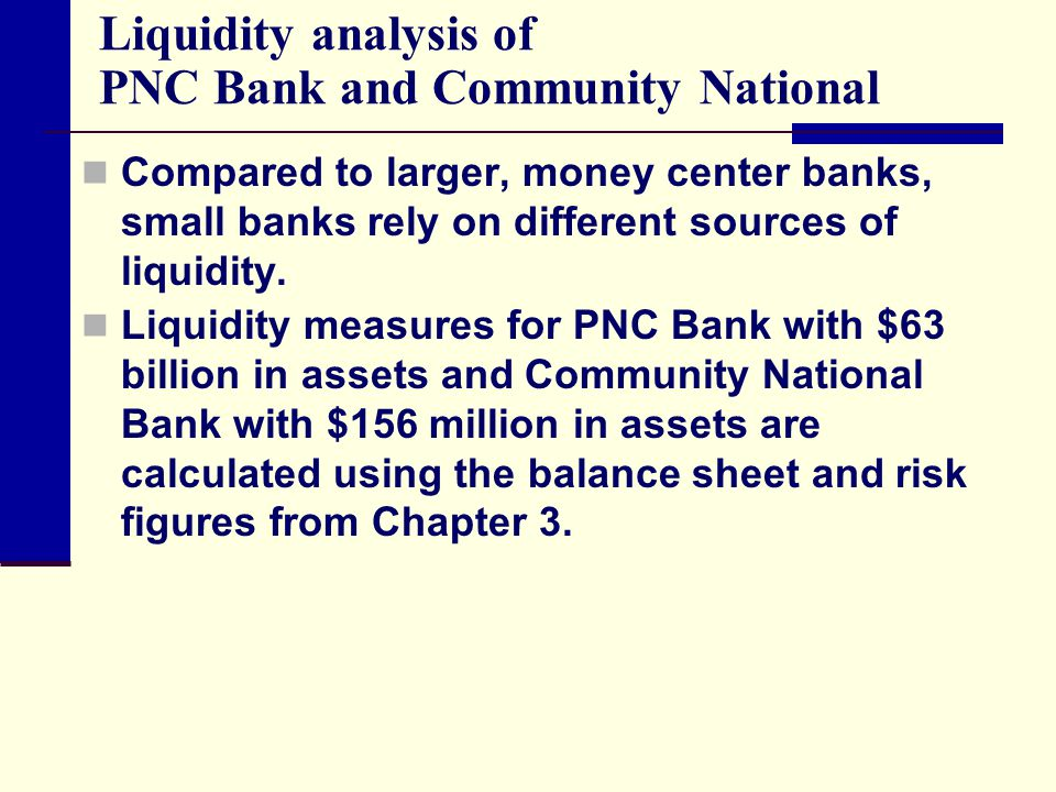 Liquidity analysis of PNC Bank and Community National