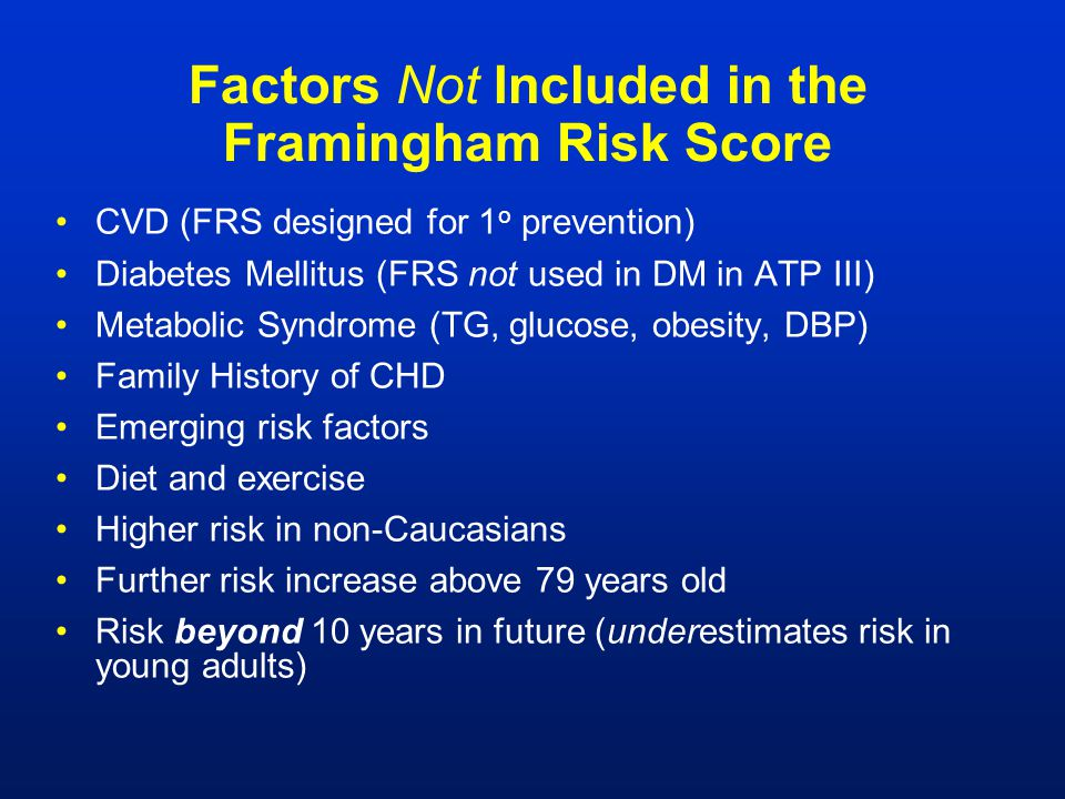 Factors Not Included in the Framingham Risk Score
