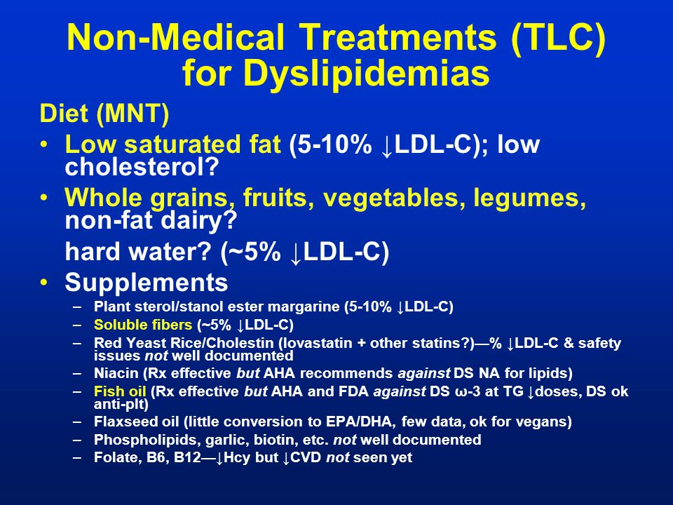 Non-Medical Treatments (TLC) for Dyslipidemias