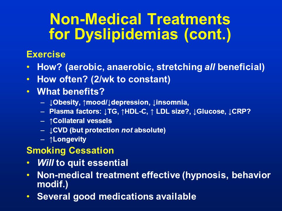 Non-Medical Treatments for Dyslipidemias (cont.)