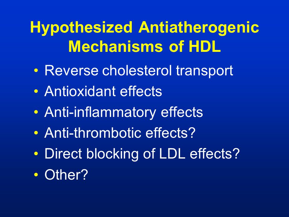 Hypothesized Antiatherogenic Mechanisms of HDL