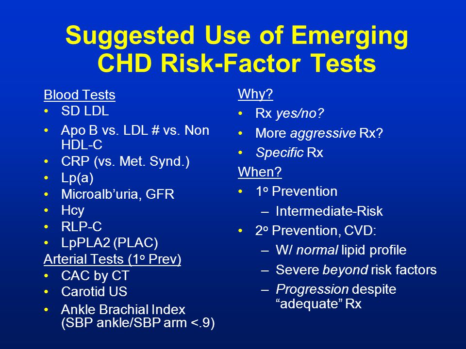 Suggested Use of Emerging CHD Risk-Factor Tests