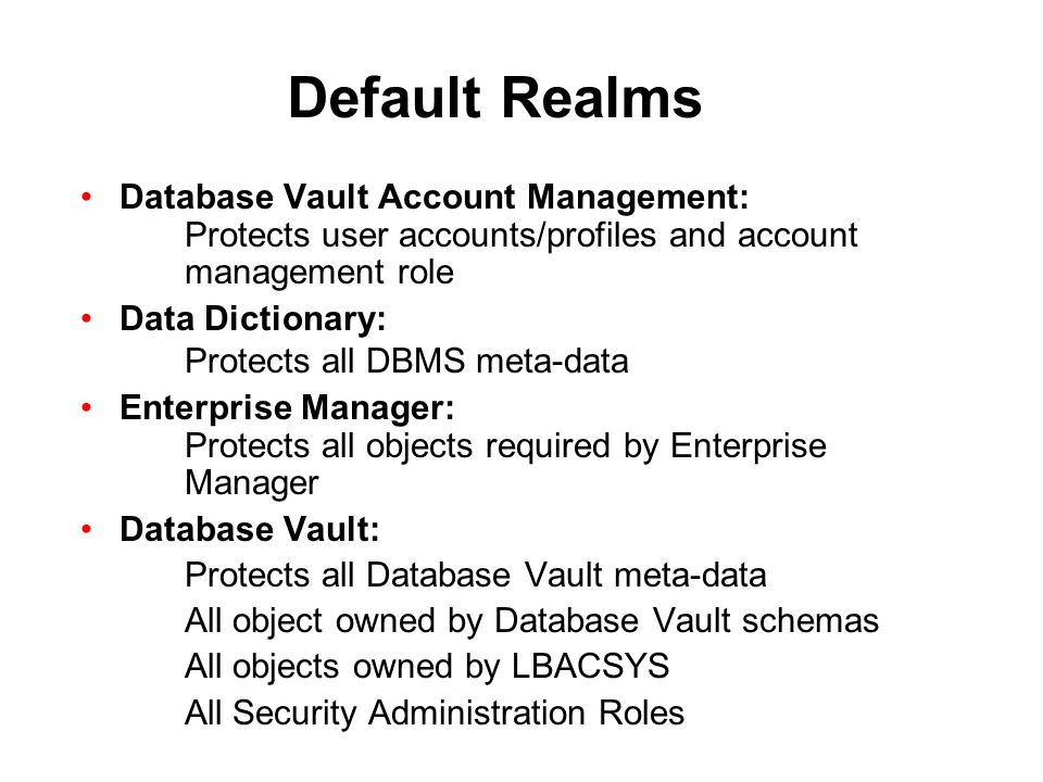 Default Realms Database Vault Account Management: Protects user accounts/profiles and account management role.
