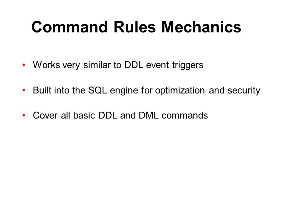 Command Rules Mechanics