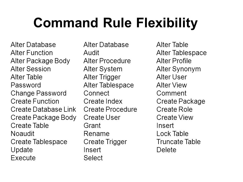 Command Rule Flexibility