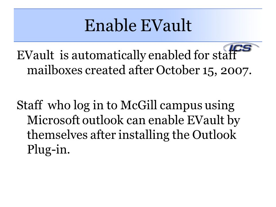 Enable EVault