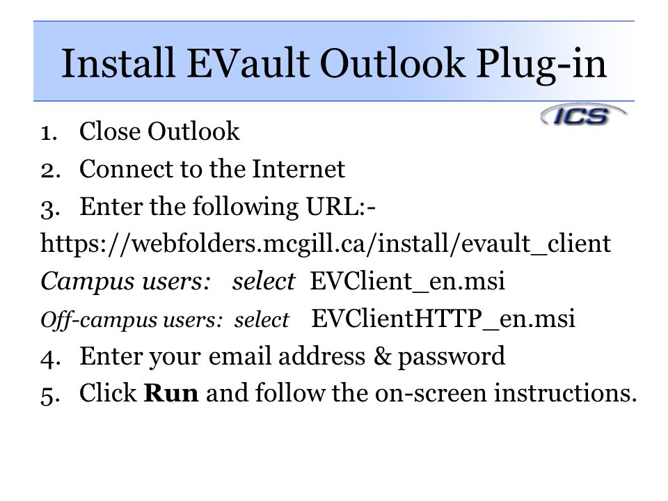 Install EVault Outlook Plug-in