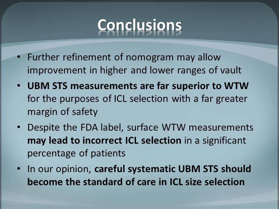 Conclusions Further refinement of nomogram may allow improvement in higher and lower ranges of vault.