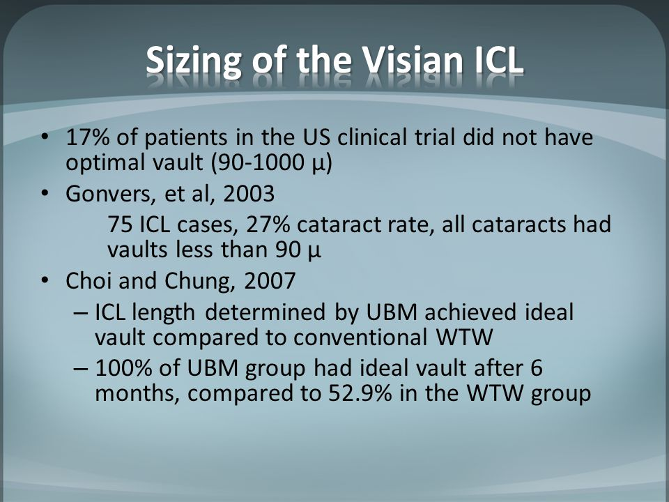 Sizing of the Visian ICL