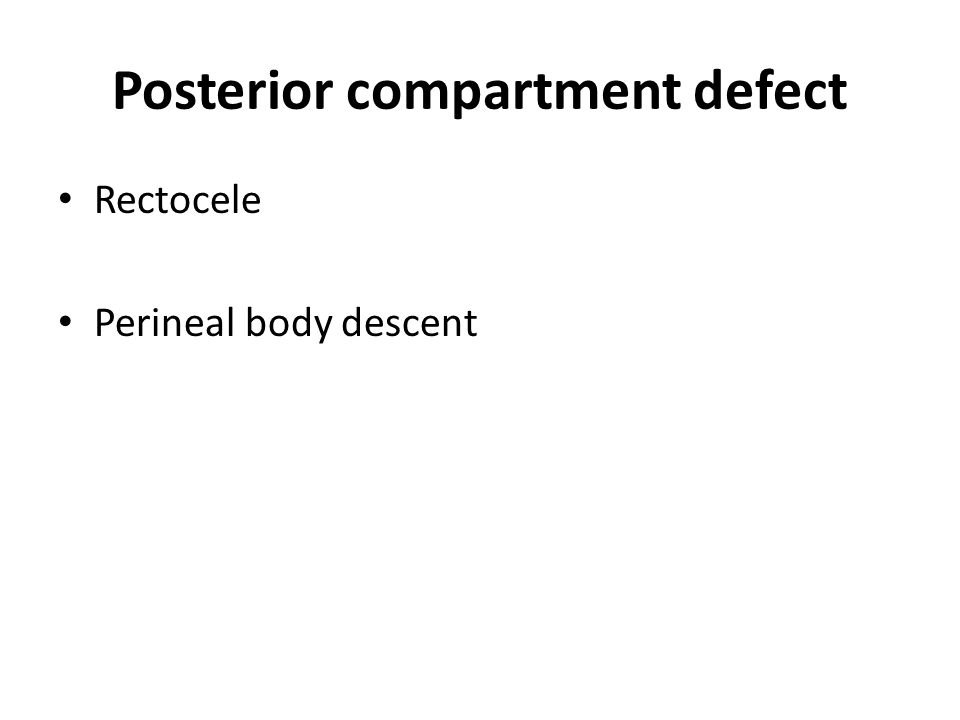 Posterior compartment defect