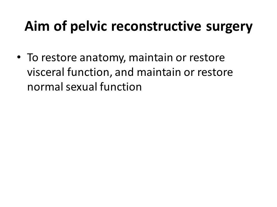 Aim of pelvic reconstructive surgery