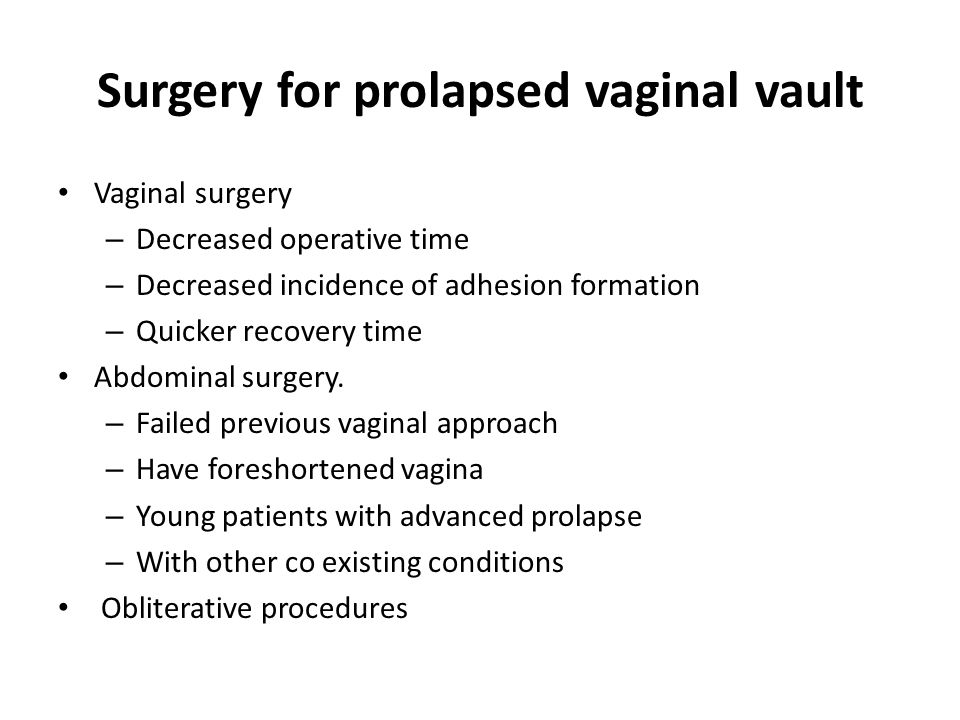 Surgery for prolapsed vaginal vault