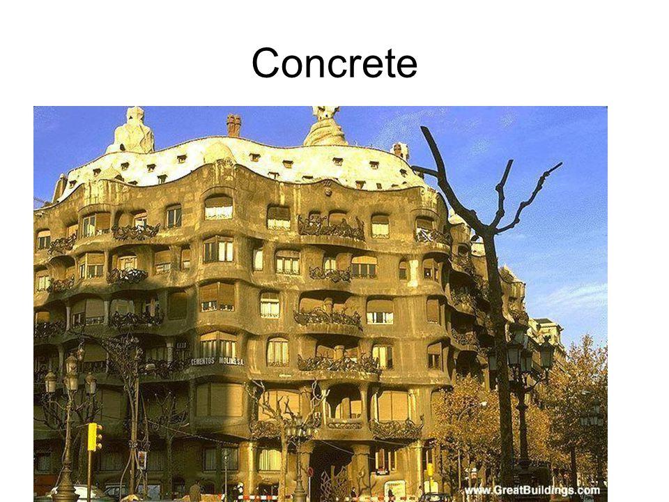 Concrete Antoni Gaudi: Casa Mila, 1905-1910. Masonry and concrete