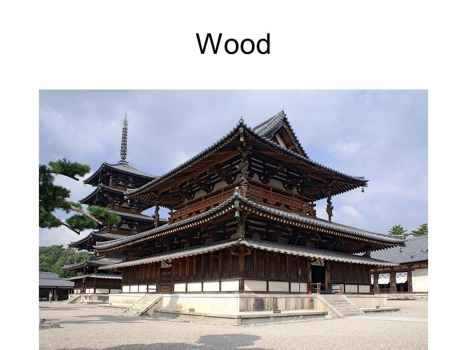 Wood Horyu-ji temple compound with pagoda and Golden Hall- Nara Japan, ca 670 CE. Wood