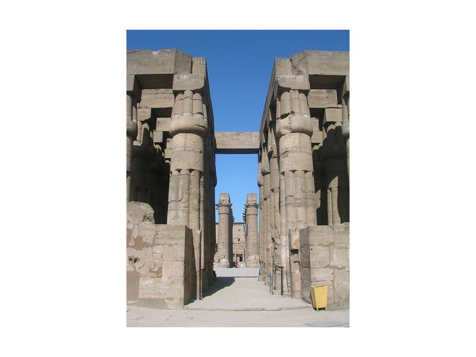 Hypostyle Hall from courtyard temple of Amon-Mut-Khonsu, Luxor columns- 30', 1390 BCE.