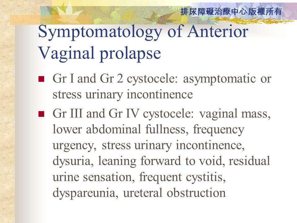 Symptomatology of Anterior Vaginal prolapse