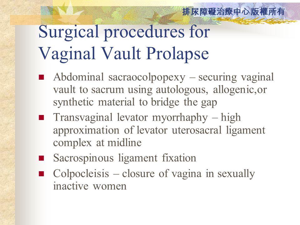 Surgical procedures for Vaginal Vault Prolapse