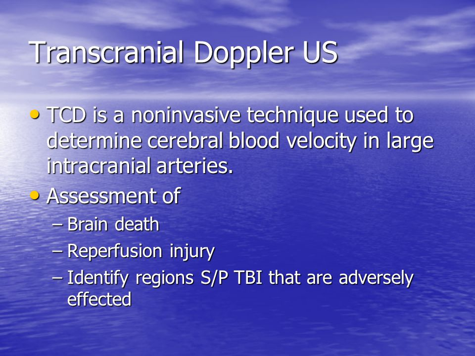 Transcranial Doppler US