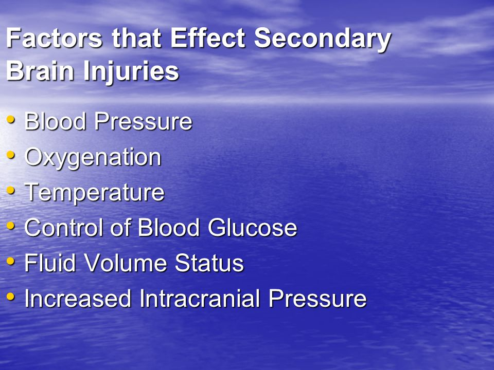 Factors that Effect Secondary Brain Injuries