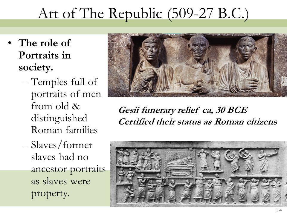 Art of The Republic (509-27 B.C.)