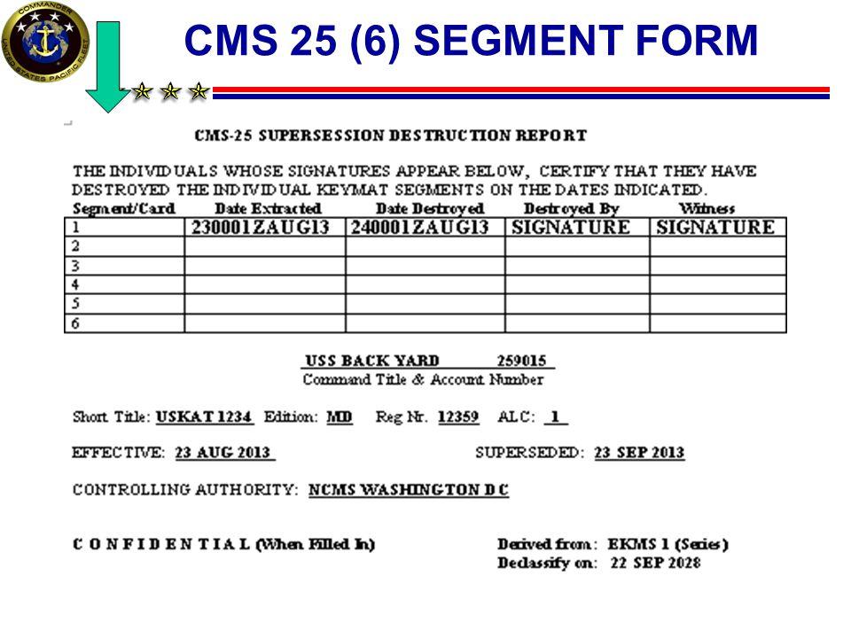 CMS 25 (6) SEGMENT FORM