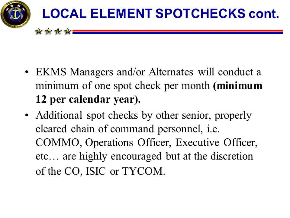 LOCAL ELEMENT SPOTCHECKS cont.