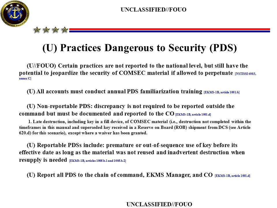 (U) Practices Dangerous to Security (PDS)
