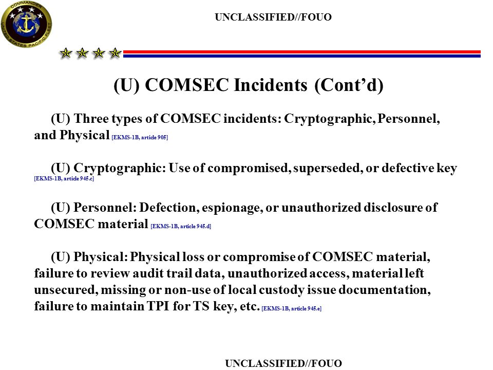 (U) COMSEC Incidents (Cont'd)