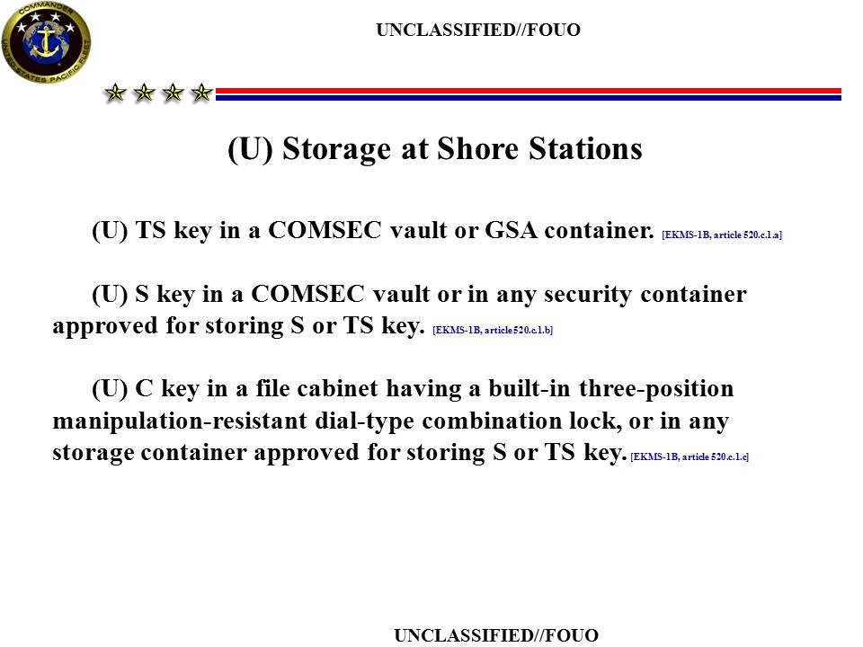 (U) Storage at Shore Stations