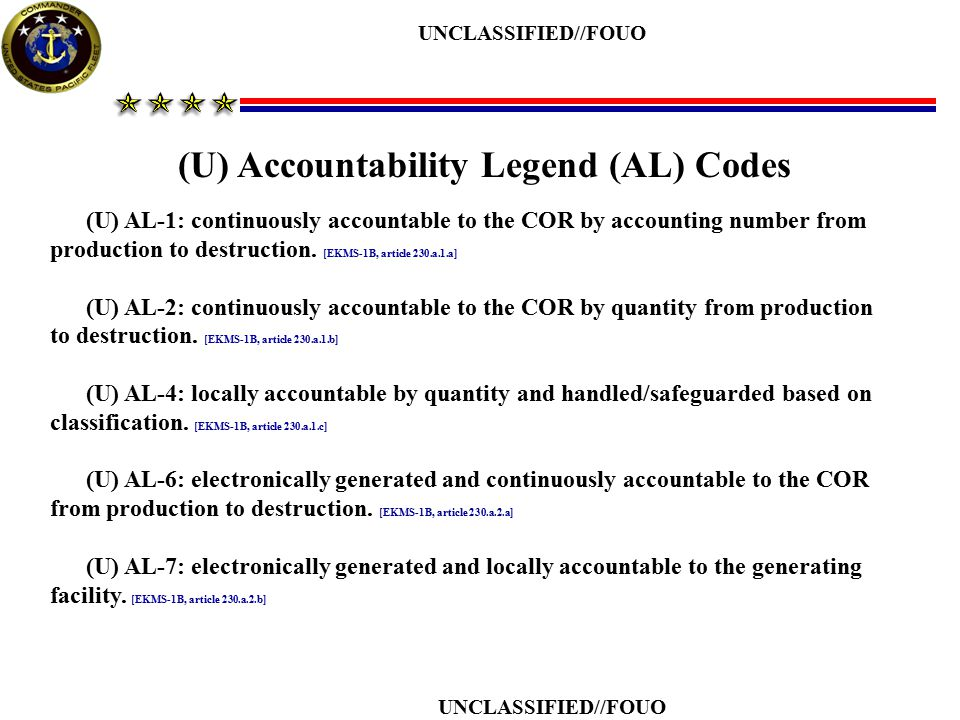 (U) Accountability Legend (AL) Codes