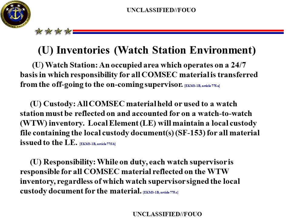 (U) Inventories (Watch Station Environment)