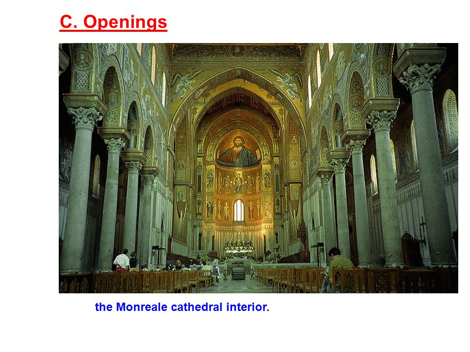 C. Openings the Monreale cathedral interior.