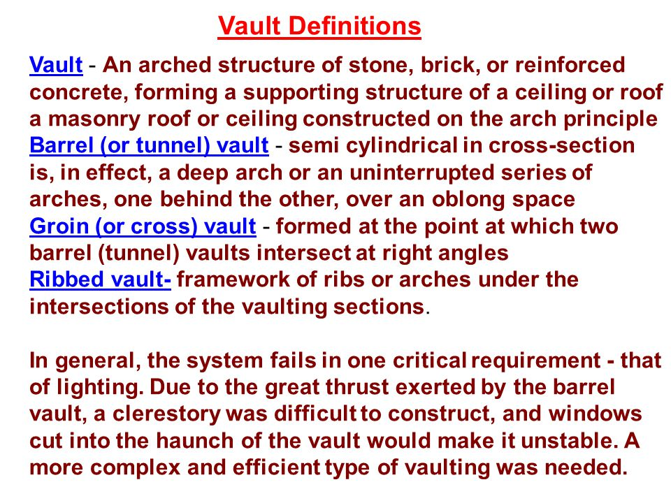 Vault Definitions Vault - An arched structure of stone, brick, or reinforced concrete, forming a supporting structure of a ceiling or roof.