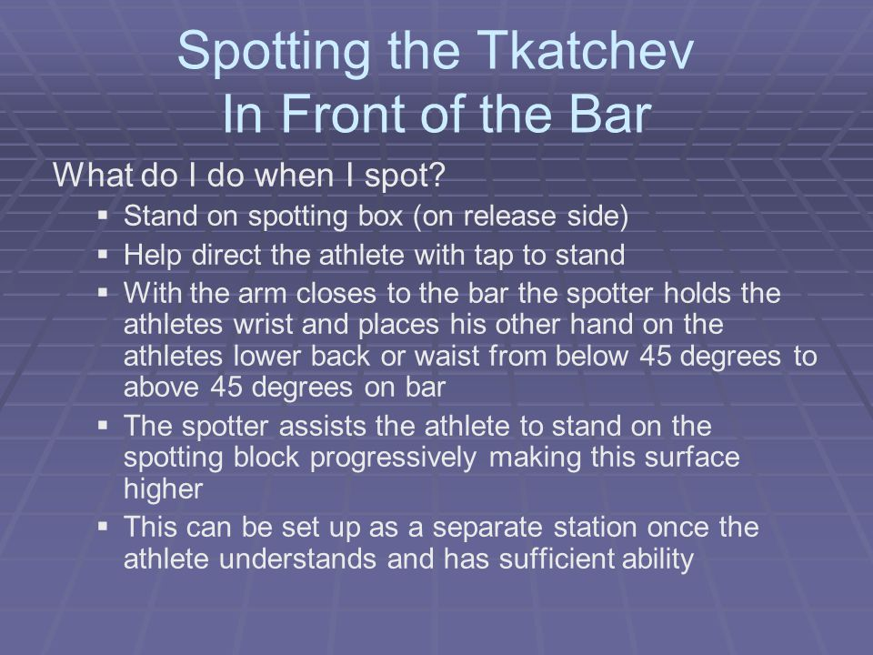 Spotting the Tkatchev In Front of the Bar