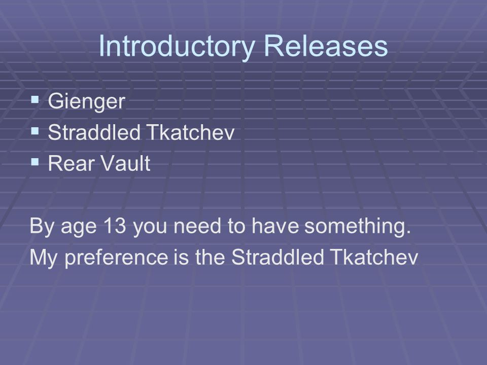 Introductory Releases