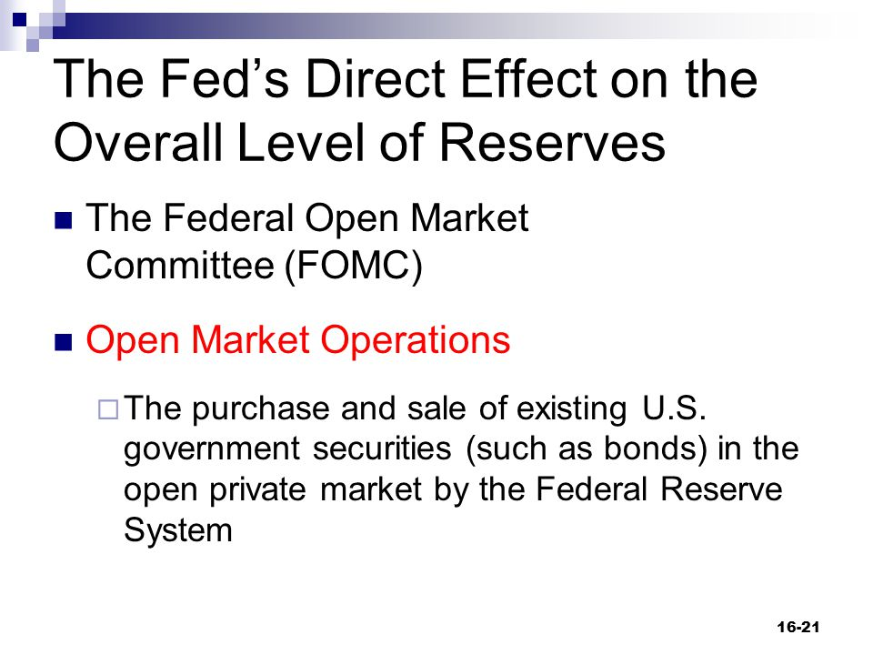 The Fed's Direct Effect on the Overall Level of Reserves